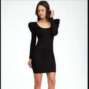 Bebe Puff Sleeve Strappy Back Dress